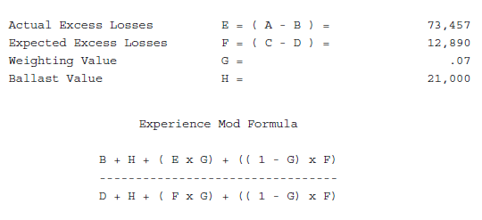 Experience modification worksheet mod calaculation formula.png